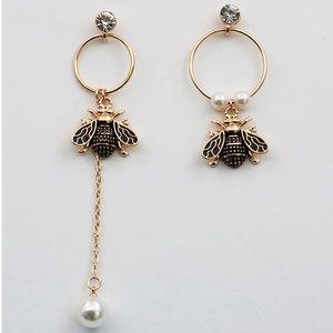 Bee Insect Crystal Stud Pearl Drop Earrings
